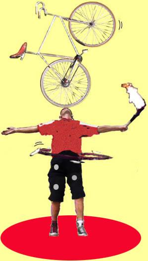 fiets op hoofd
