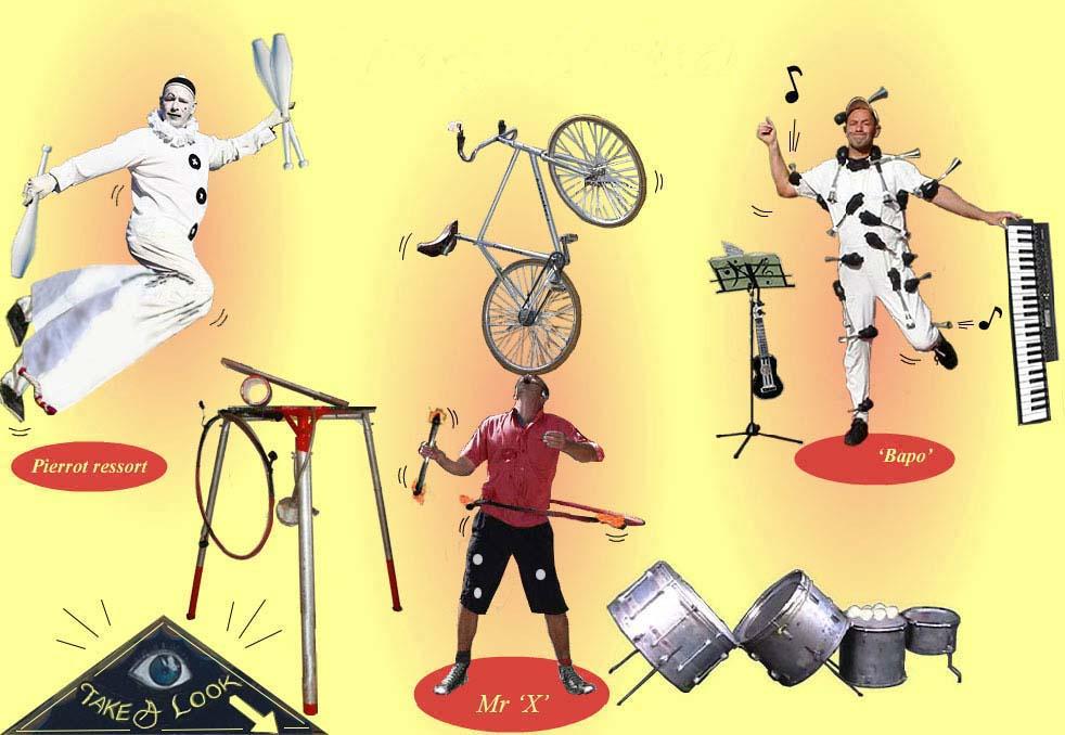 Teorge Michael performances; toeterman ou l'homme claxon, circusartiest en pierrot ressort voor festivals